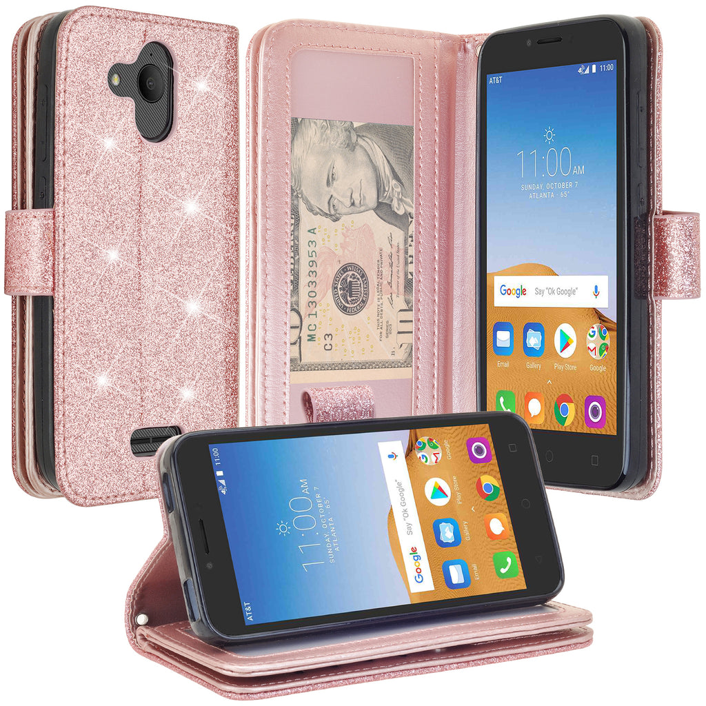 quality design 3d7bb c5a8c Alcatel Tetra Case, Glitter Faux Leather Flip Credit Card Holder Wrist  Strap Shockproof Protective Wallet Case Clutch for Tetra - Rose Gold