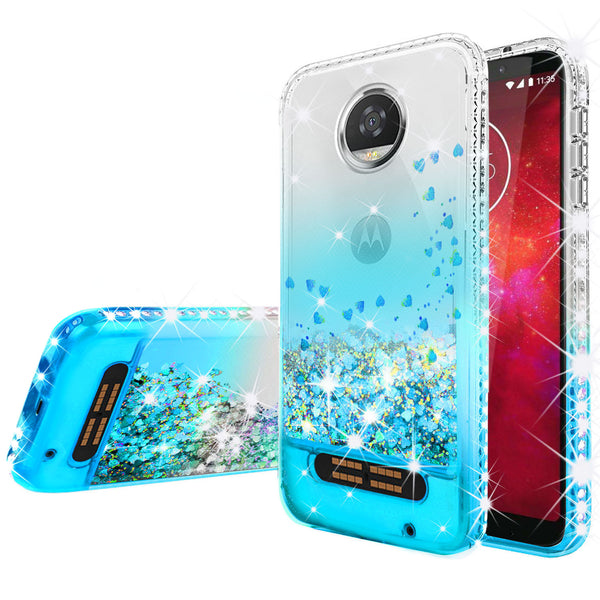 clear liquid phone case for motorola moto z2 force - teal - www.coverlabusa.com
