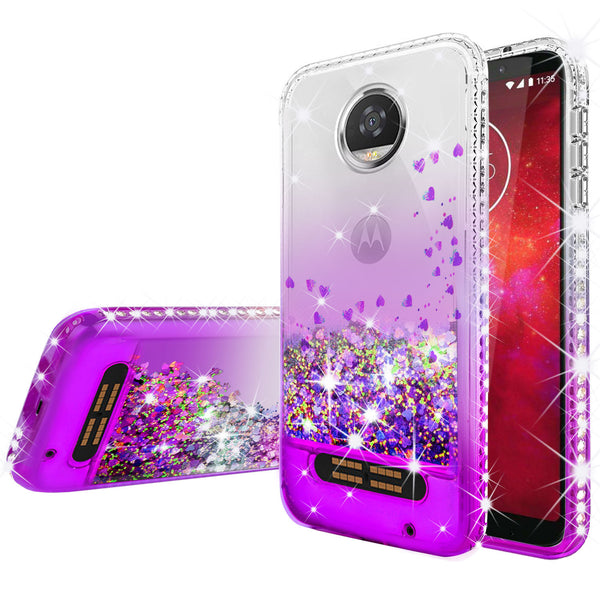 clear liquid phone case for motorola moto z2 play - purple - www.coverlabusa.com
