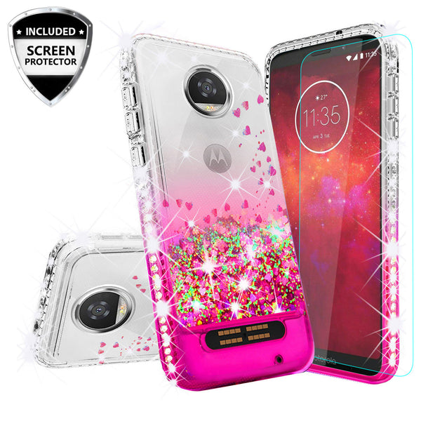 clear liquid phone case for motorola moto z2 play - hot pink - www.coverlabusa.com