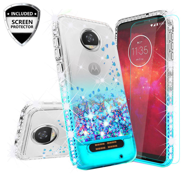 clear liquid phone case for motorola moto z2 play - teal - www.coverlabusa.com