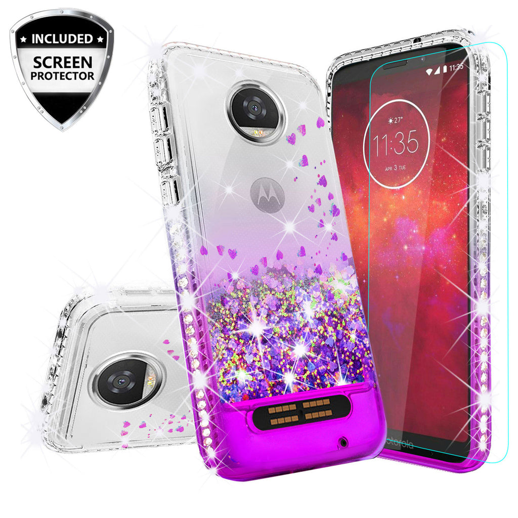 on sale 668dd da69c Motorola Moto Z2 Play Case Liquid Glitter Phone Case Waterfall Floating  Quicksand Bling Sparkle Cute Protective Girls Women Cover with Temper Glass  ...