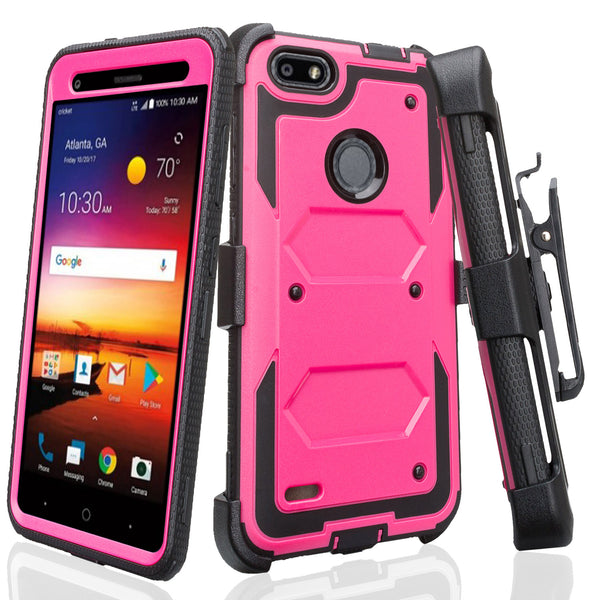 zte blade force heavy duty holster case - hot pink - www.coverlabusa.com