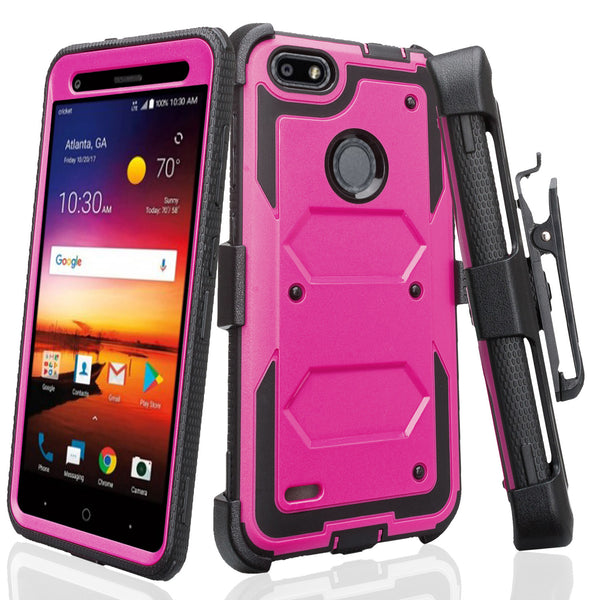 ZTE Blade Force Case, ZTE N9517 Case, Triple Protection 3-1 w/ Built in Screen Protector Heavy Duty Holster Shell Combo Case Cover - Purple