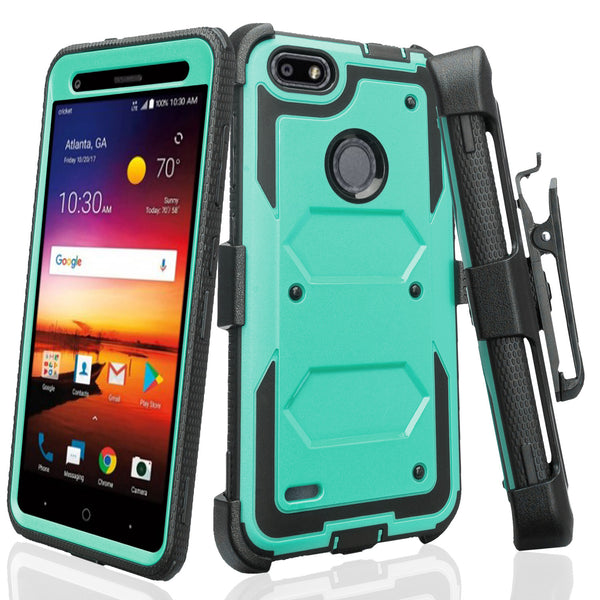 ZTE Blade X Case, ZTE Z965 Case, Triple Protection 3-1 w/ Built in Screen Protector Heavy Duty Holster Shell Combo Case Cover - Teal