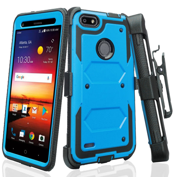 ZTE Blade X Case, ZTE Z965 Case, Triple Protection 3-1 w/ Built in Screen Protector Heavy Duty Holster Shell Combo Case Cover - Blue