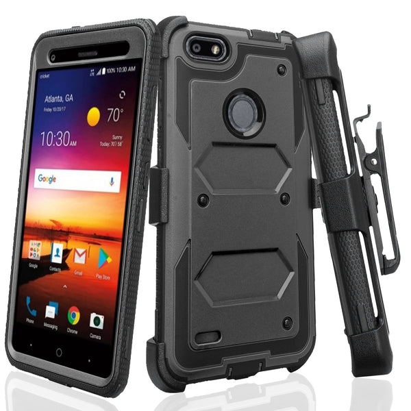 ZTE Blade X Case, ZTE Z965 Case, Triple Protection 3-1 w/ Built in Screen Protector Heavy Duty Holster Shell Combo Case Cover - Black