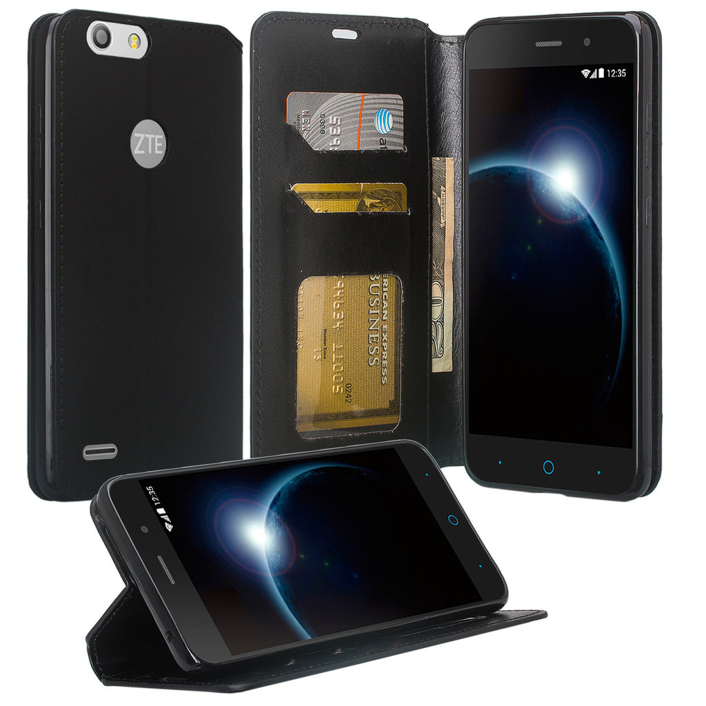best service a2418 e21a5 ZTE Sequoia   Blade Z Max   ZTE Z982 Case, Faux Leather Magnetic  Flip[Kickstand] Wallet Case Cover with ID & Card Slots - Black