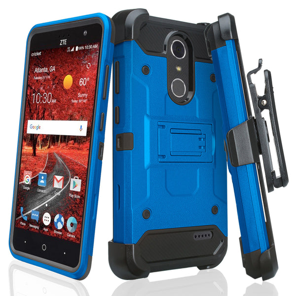 ZTE Grand X4 Hybrid Holster Case - BLUE - WWW.COVERLABUSA.COM
