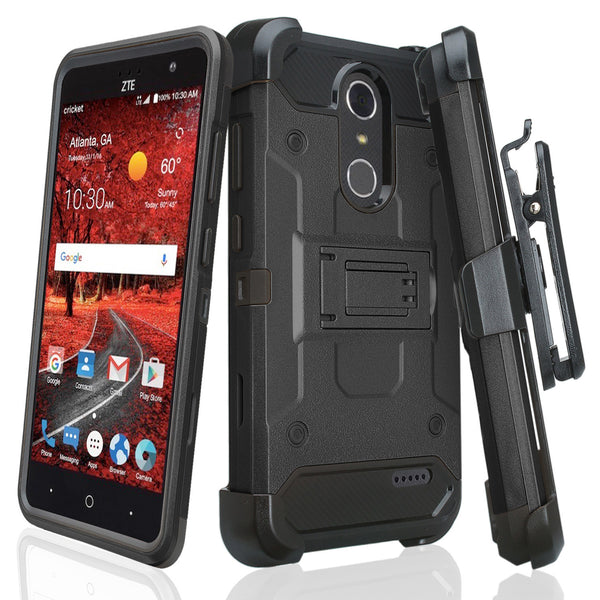 ZTE Grand X4 Hybrid Holster Case - BLACK - WWW.COVERLABUSA.COM