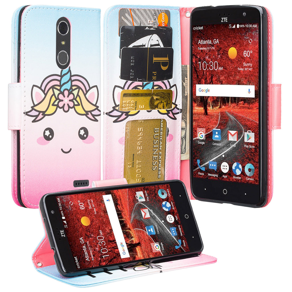 new style ab12f 36ea6 ZTE Blade Spark Z971, ZTE ZMAX One, ZTE Grand X4, X 4 Case, Wrist Strap Pu  Leather Magnetic Flip [Kickstand] Wallet Cover with Slots - White Unicorn