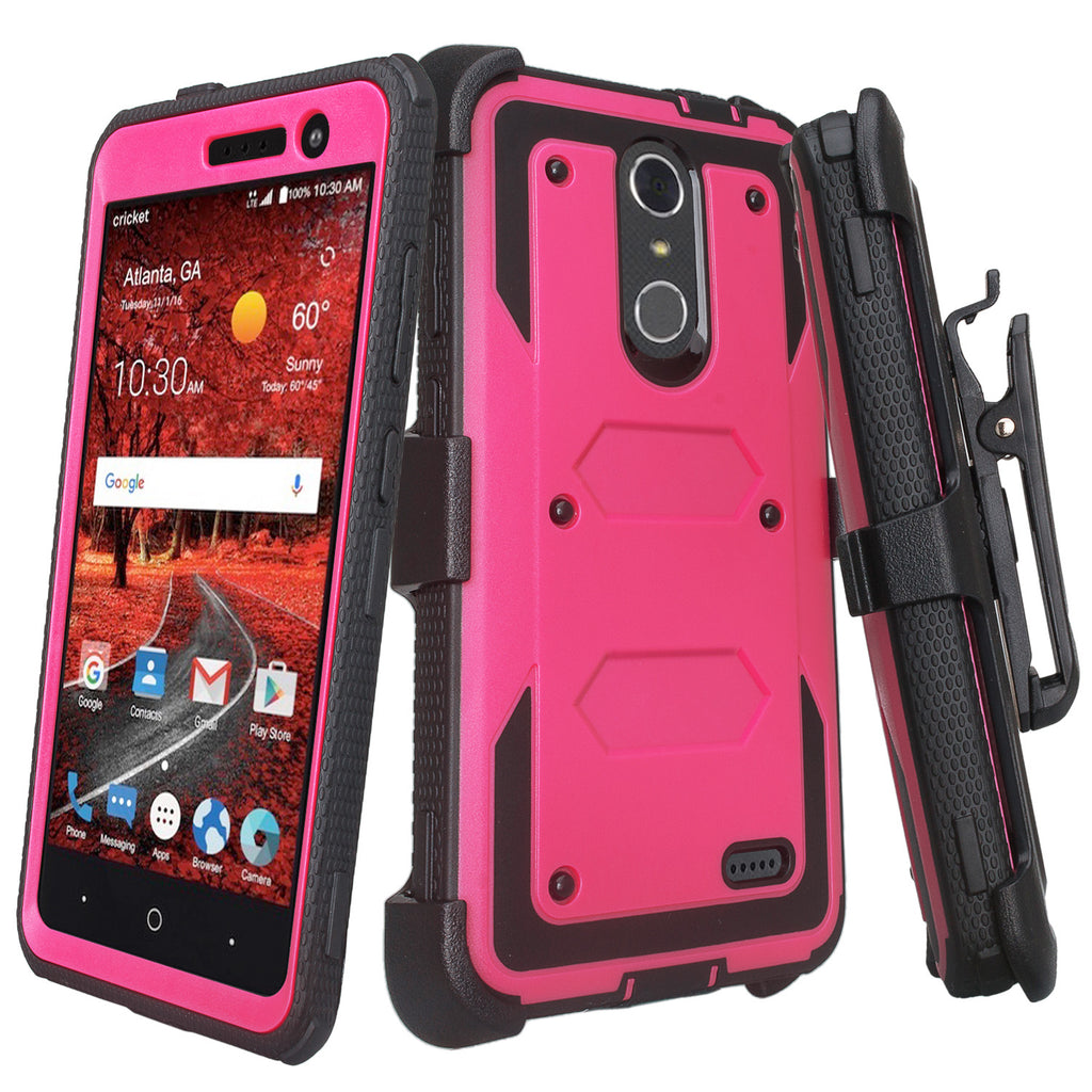 new concept 7fef7 f76a9 ZTE Blade Spark Z971, ZTE ZMAX One, ZTE Grand X4, X 4 Case, Rugged  [Built-in Screen Protector] Heavy Duty Holster Shell Combo Cover - Hot Pink