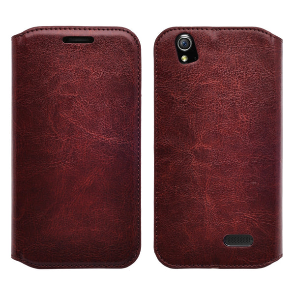zte grand x leather wallet case - brown - www.coverlabusa.com