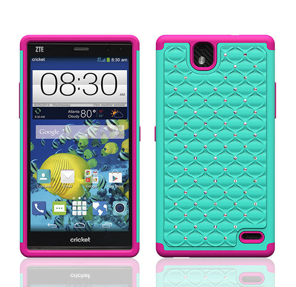 ZTE Grand X Max Rhinestone Case - teal/hot pink - www.coverlabusa.com