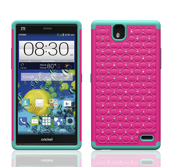 ZTE Grand X Max Rhinestone Case - hot pink/teal - www.coverlabusa.com