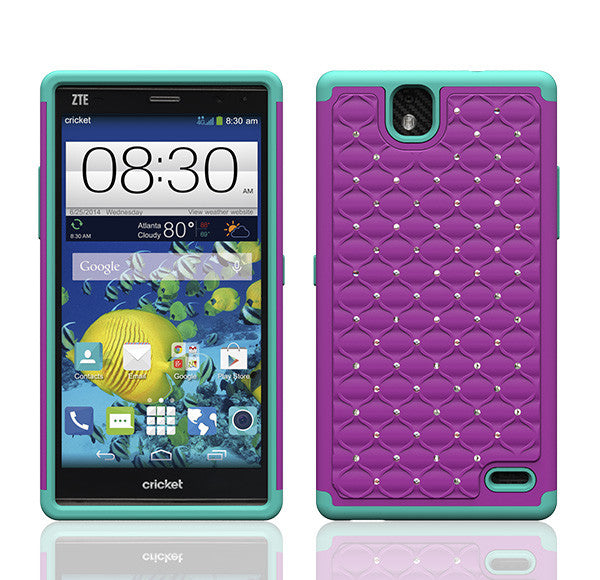ZTE Grand X Max Rhinestone Case - Purple/Teal - www.coverlabusa.com