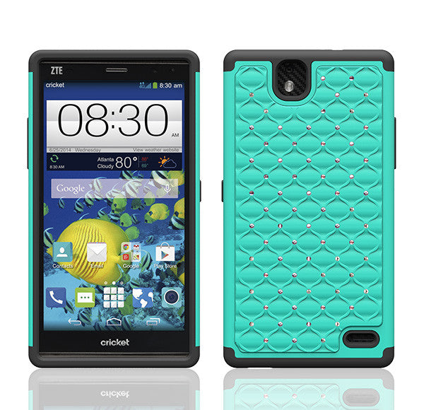 ZTE Grand X Max Rhinestone Case - Teal/Black - www.coverlabusa.com