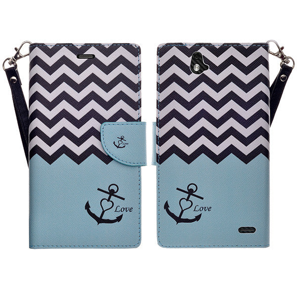 zte grand x max cover, zte z787 wallet case - teal anchor - www.coverlabusa.com