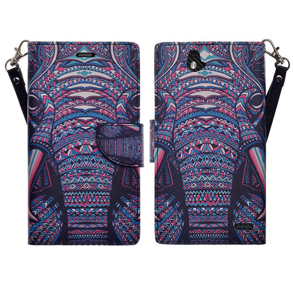 zte grand x max cover, zte z787 wallet case - tribal elephant - www.coverlabusa.com