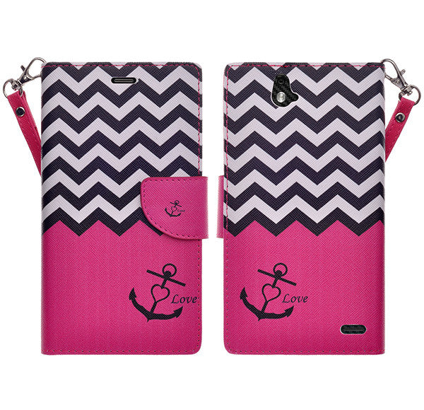 zte grand x max cover, zte z787 wallet case - hot pink anchor - www.coverlabusa.com