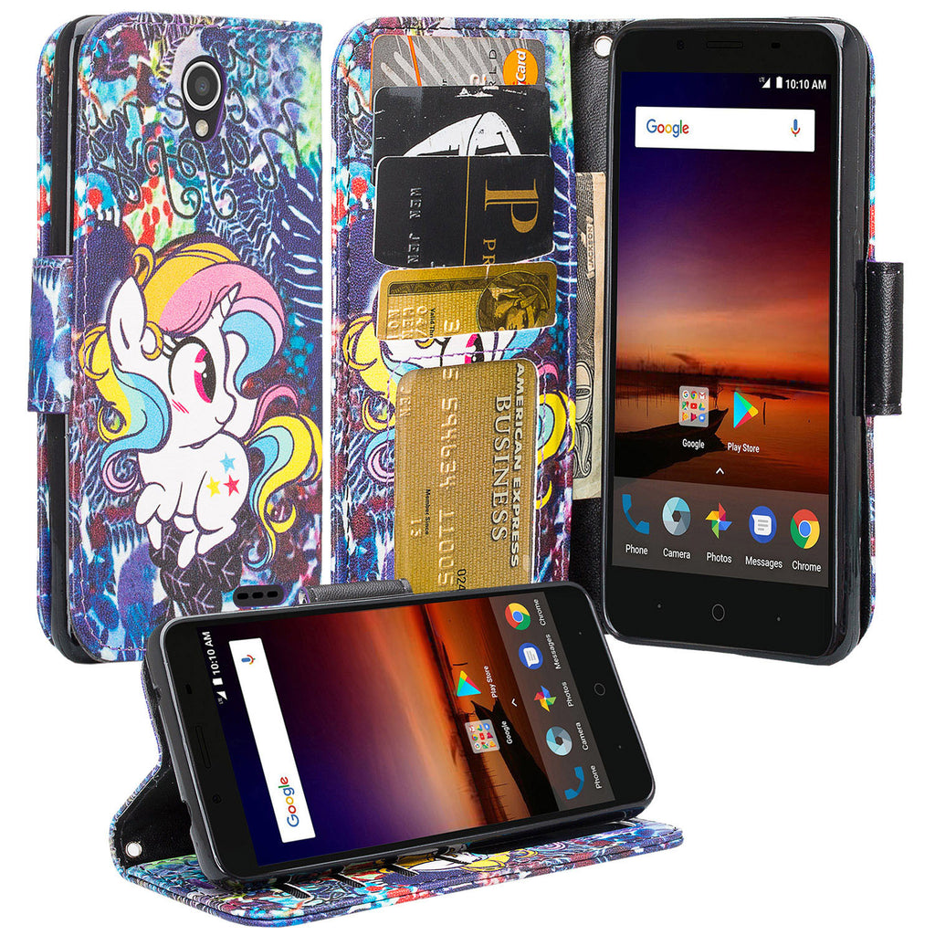 brand new bfa0d 612f6 ZTE Majesty Pro, Majesty Pro Plus, Tempo Cover, Pu Leather Magnetic  Fold[Kickstand] Wallet Case with ID & Card Slots - Rainbow Unicorn