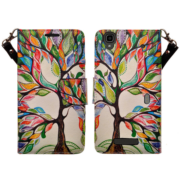 ZTE Max Wallet Case [Card Slots + Money Pocket + Kickstand] and Strap - Colorful Tree