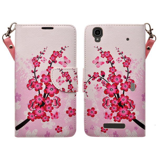ZTE Max Wallet Case [Card Slots + Money Pocket + Kickstand] and Strap - Cherry Blossom