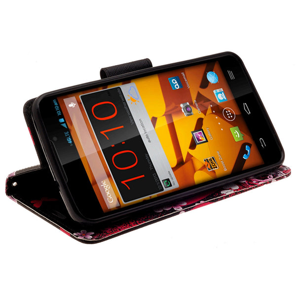 ZTE Max Wallet Case [Card Slots + Money Pocket + Kickstand] and Strap - Heart Butterflies