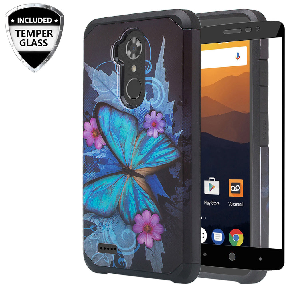 zte max xl hybrid case - blue butterfly - www.coverlabusa.com