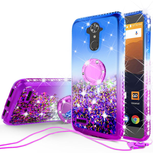 glitter ring phone case for zte zmax pro/max xl - blue gradient - www.coverlabusa.com