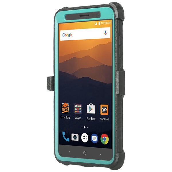 ZTE Max XL, ZTE Blade Max 3, Zmax Pro 2 Tri-Layer Full Coverage[Built-in Kickstand] Shock Resistant Hybrid Holster Clip Case - Teal