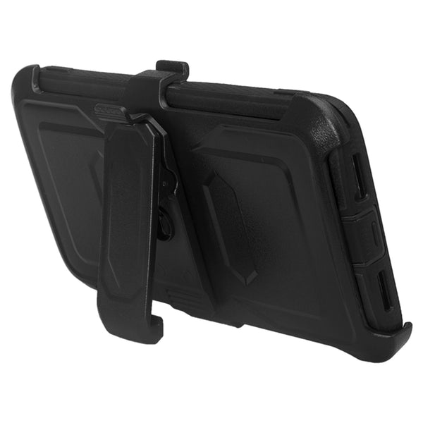 ZTE Max XL, ZTE Blade Max 3, Zmax Pro 2 Tri-Layer Full Coverage[Built-in Kickstand] Shock Resistant Hybrid Holster Clip Case - Black
