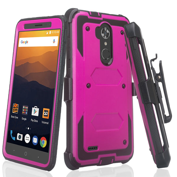 ZTE Max XL, ZTE Blade Max 3, Zmax Pro 2 Tri-Layer Full Coverage[Built-in Kickstand] Shock Resistant Hybrid Holster Clip Case - Purple
