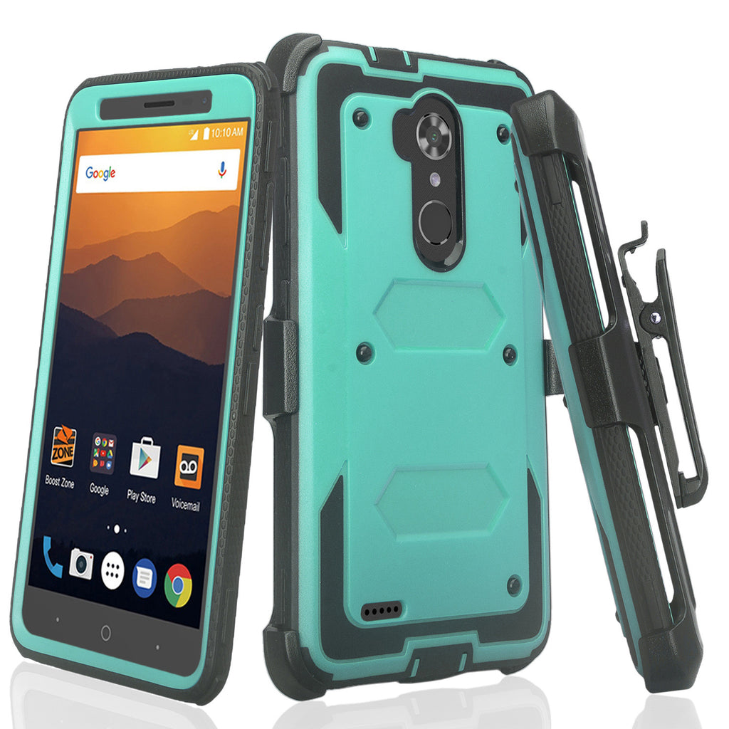 sports shoes 86e16 29ace ZTE Max XL, ZTE Blade Max 3, Max Blue, Rugged [Built-in Screen Protector]  Shockproof Holster Clip Combo Case Cover - Teal