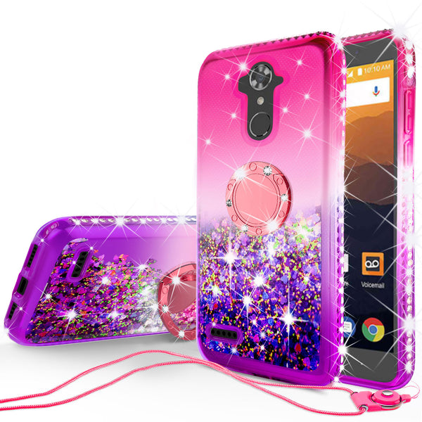 glitter ring phone case for zte zmax pro/max xl - pink gradient - www.coverlabusa.com