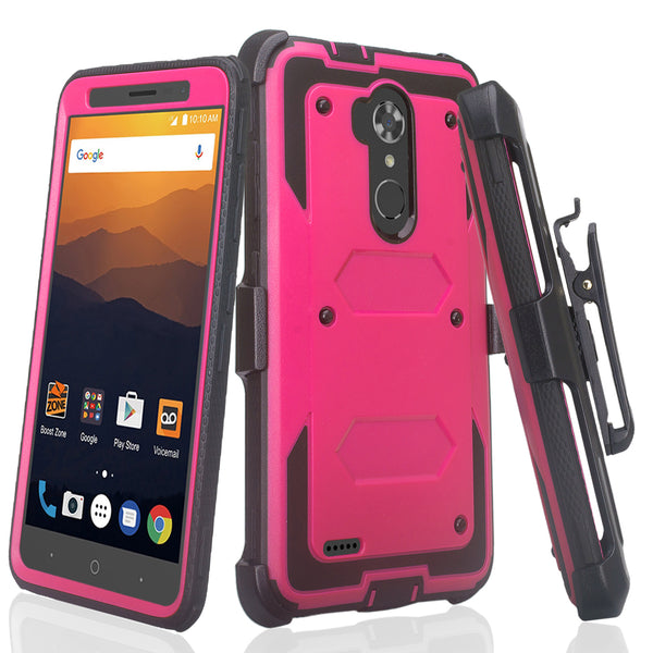 ZTE Max XL, ZTE Blade Max 3, Zmax Pro 2 Tri-Layer Full Coverage[Built-in Kickstand] Shock Resistant Hybrid Holster Clip Case - Hot Pink