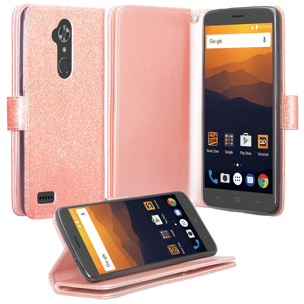 new arrivals 2a66a 71a26 ZTE Max XL Case, ZTE Blade Max 3, ZTE Max Blue, [Wrist Strap] Glitter Faux  Leather Flip [Kickstand] Wallet Cover Wristlet - Rose Gold
