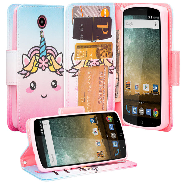 ZTE Ultra Case | ZTE Uhura | ZTE Quest Wallet Case - White Unicorn - www.coverlabusa.com