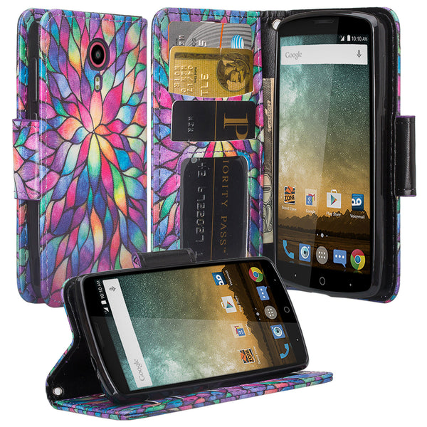 ZTE Ultra Case | ZTE Uhura | ZTE Quest Wallet Case - rainbow flower - www.coverlabusa.com
