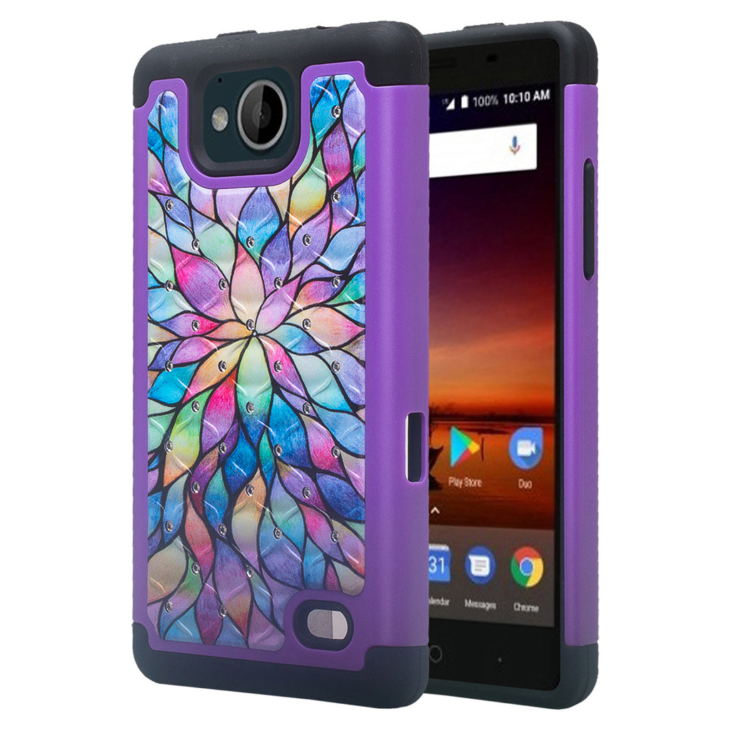 check out 4d7b3 ce38b ZTE Majesty Pro Case, ZTE Tempo, Z799VL, N9131, Slim Hybrid Crystal  Rhinestone Dual Layer [Shock Resistant] Protective Cover - Rainbow Flower