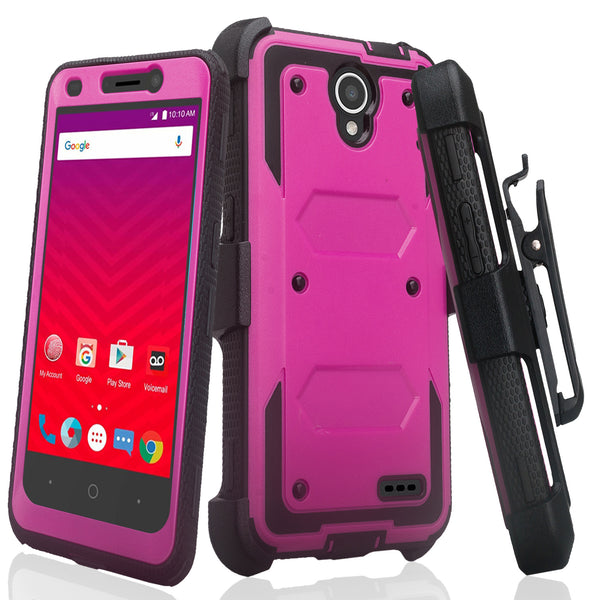ZTE Prestige | ZTE Sonata 3 | ZTE Avid Plus | ZTE Avid Trio  holster case built in screen protector - purple - www.coverlabusa.com