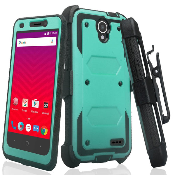 ZTE Prestige 2, Overture 3, Maven 3, Prelude Plus, ZTE 9136, Midnight Pro, Rugged Full-Body, Built-in Screen Protector, Heavy Duty Holster Combo Case Cover - Teal