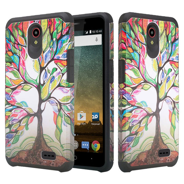 ZTE Prestige 2, Overture 3, Maven 3, Prelude Plus, ZTE 9136, Midnight Pro, Slim Hybrid Dual Layer Case Cover - Vibrant Tree