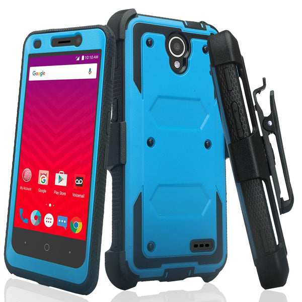 ZTE Prestige | ZTE Sonata 3 | ZTE Avid Plus | ZTE Avid Trio  holster case built in screen protector - blue - www.coverlabusa.com
