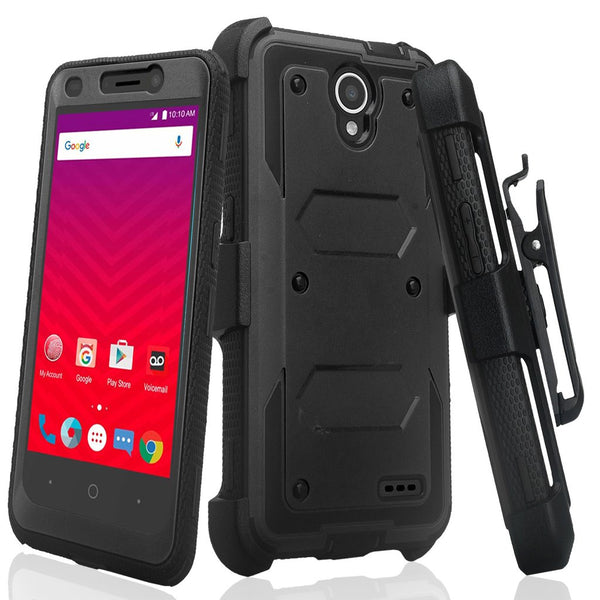 ZTE Prestige 2, Overture 3, Maven 3, Prelude Plus, ZTE 9136, Midnight Pro, Rugged Full-Body, Built-in Screen Protector, Heavy Duty Holster Combo Case Cover - Black