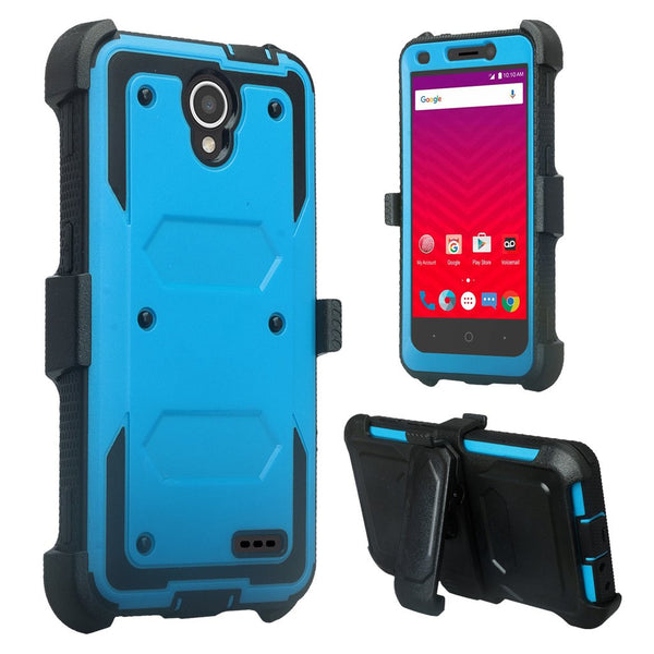 ZTE Prestige 2, Overture 3, Maven 3, Prelude Plus, ZTE 9136, Midnight Pro, Rugged Full-Body, Built-in Screen Protector, Heavy Duty Holster Combo Case Cover - Blue
