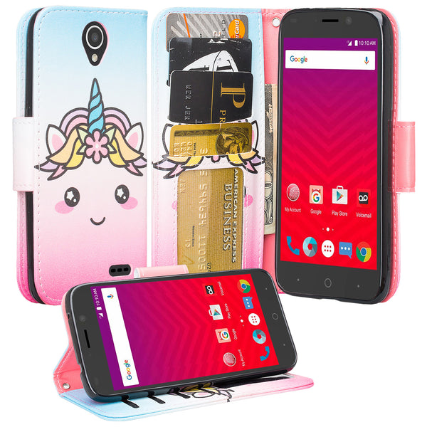 ZTE Prestige 2 Wallet Case [Card Slots + Money Pocket + Kickstand] and Strap - White Unicorn