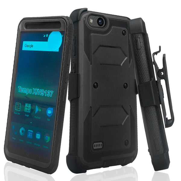 ZTE Tempo X | N9137 | ZTE Blade Vantage Holster Case with Screen Protector - black - www.coverlabusa.com