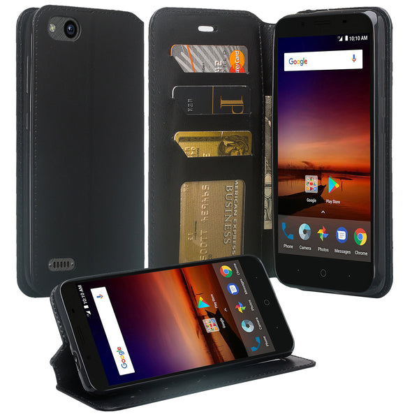 ZTE Blade Force Wallet Case [Card Slots + Money Pocket + Kickstand] and Strap - Black