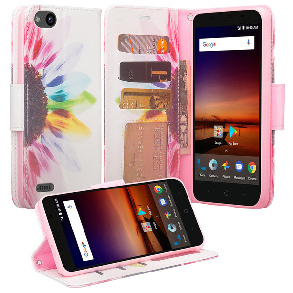 ZTE Blade Force Wallet Case [Card Slots + Money Pocket + Kickstand] and Strap - Vivid Sunflower